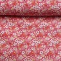 Decorative fabric ZINIA pink flowers