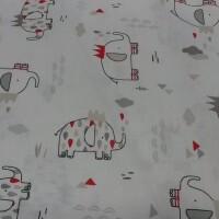 Cotton fabric ELEFUNNY blanc/gris