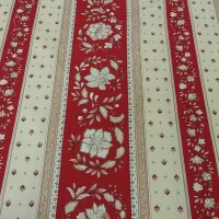 Cotton fabric VOLKS red strips