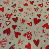 Decorative fabric HEARTS red