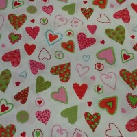 Decorative fabric HEARTS pink