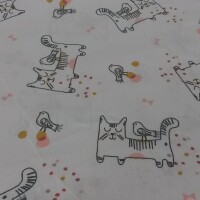 Cotton fabric CAT with a bird