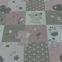 Cotton fabric BABY ZOO pink