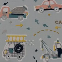 Children decorative fabric FUNNY CARS blue