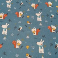 Cotton fabric ANIMAL IN THE WINTER