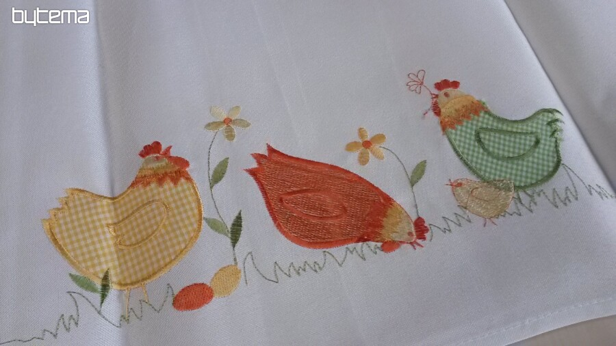 Embroidered Easter Tablecloths Colorful Chickens   85x85