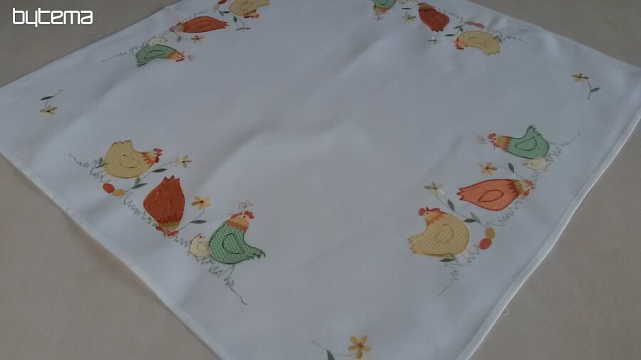 Embroidered Easter Tablecloths Colorful Chickens