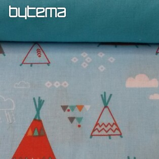 Cot bedding INDIAN TEEPEE - blue