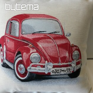 Tapestry pillow-case VW Beetle red