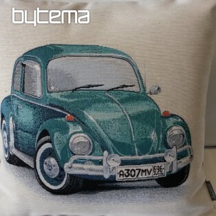Tapestry pillow-case VW Beetle turquoise