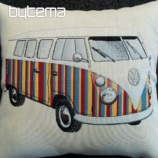 Tapestry pillow-case RED BUS VW HIPPIE