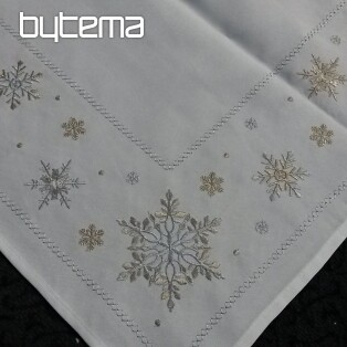 Christmas embroidered tablecloth and shawls SNOWFLAKE white