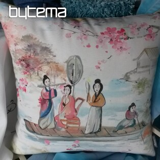 Decorative pillow-case MIDORI Japanese Gejsha