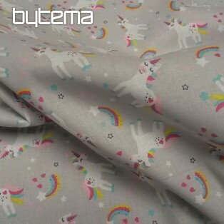 Cotton fabric UNICORN OMMA grey