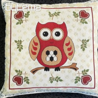 Decorative pillow OWL red