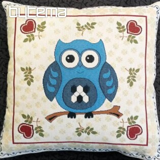 Decorative pillow OWL blue