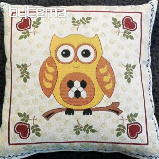 Decorative pillow OWL yellow