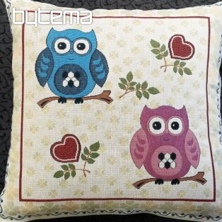 Decorative pillow two owls III